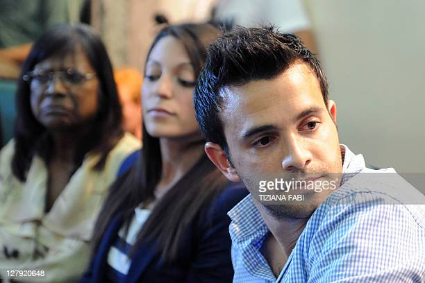 Meredith Kercher's mother Arline sister Stephanie and brother Lyle hold a press conference in Perugia on October 3 2011 on the day of the verdict of...