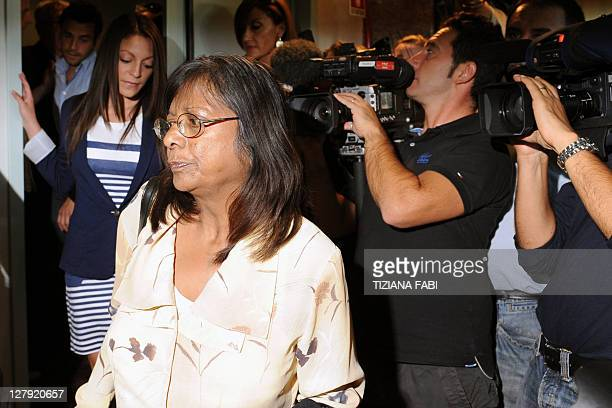 Meredith Kercher's mother Arline sister Stephanie and brother Lyle arrive for a press conference in Perugia on October 3 2011 on the day of the...
