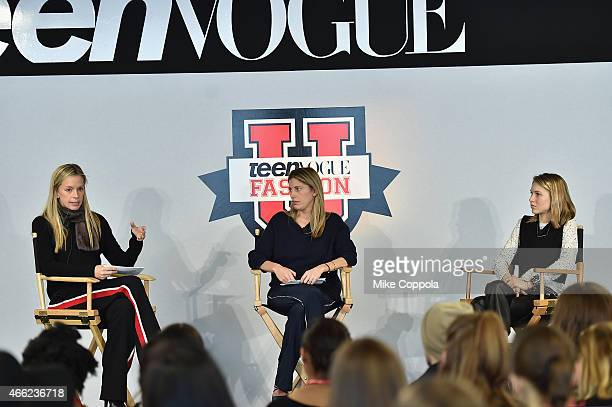 Meredith Melling Valerie Boster and Jessica Minkoff speak during Teen Vogue's 10th Annual Fashion University on March 14 2015 in New York City