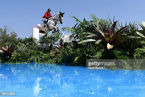 Meredith Michaels-Beerbaum of Germany riding Fibonacci competes during the Jumping Team competition on Day 12 of the Rio 2016 Olympic Games at the...