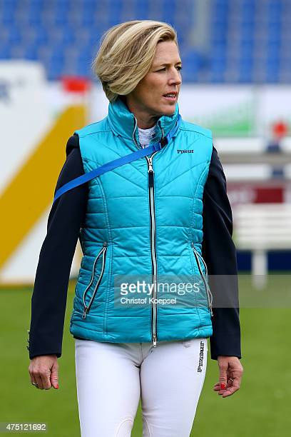 Meredith MichaelsBeerbaum of Germany watches the parcour prior to the SparkassenYoungstersCup competition during the 2015 CHIO Aachen tournament at...