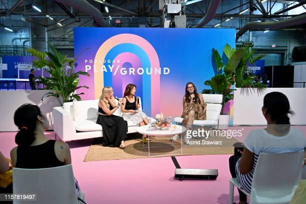 """Meredith Mohr, Janet Francis and Jenna Lyons speak during """"Loosely Connected Podcast Taping"""" during POPSUGAR Play/Ground at Pier 94 on June 23, 2019..."""