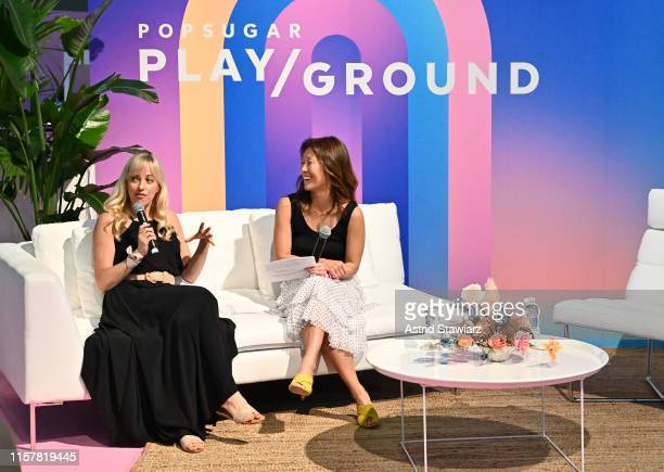 """Meredith Mohr, Janet Francis speak during """"Loosely Connected Podcast Taping"""" during POPSUGAR Play/Ground at Pier 94 on June 23, 2019 in New York City."""