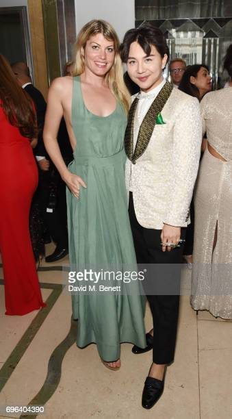 Meredith Ostrom and Beau Han Xu attend the VIP launch of the new Beau Han Xu Couture Diamond jewellery collections at Claridge's Hotel on June 15...