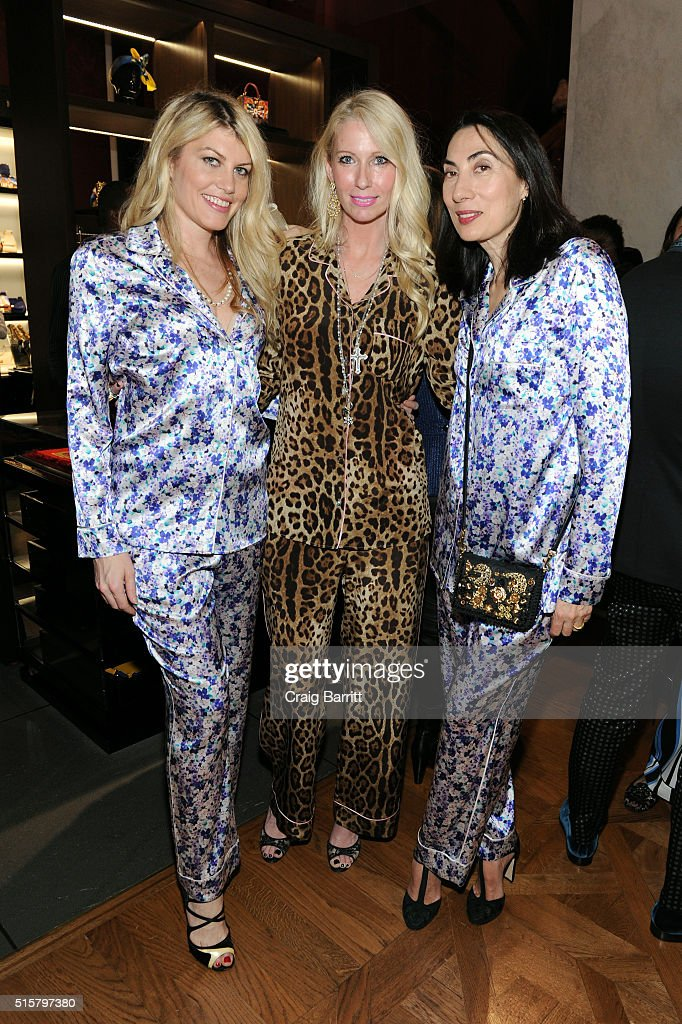 Meredith Ostrom, Mary Snow, and Mary Snow attend Dolce & Gabbana pyjama party at 5th Avenue Boutique on March 15, 2016 in New York City.