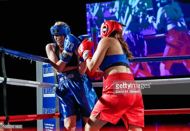 Meredith Ostrum and Paola Diana fight at The Float Like A Butterfly Ball 2018 the annual black tie boxing gala in aid of Caudwell Children at The...