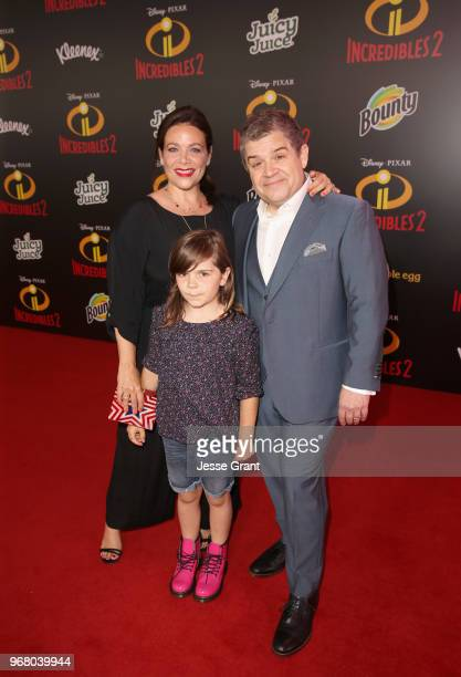 Meredith Salenger Alice Rigney Oswalt and Patton Oswalt attend the World Premiere Of DisneyPixar's Incredibles 2 at El Capitan Theatre on June 5 2018...