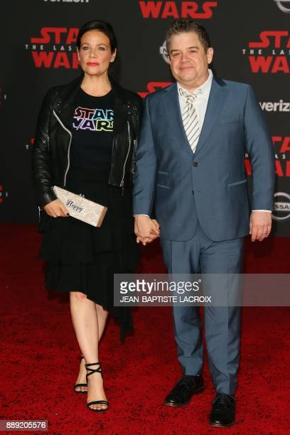 Meredith Salenger and Patton Oswalt arrive for the premiere of Disney Pictures and Lucasfilm's 'Star Wars The Last Jedi' at The Shrine Auditorium in...