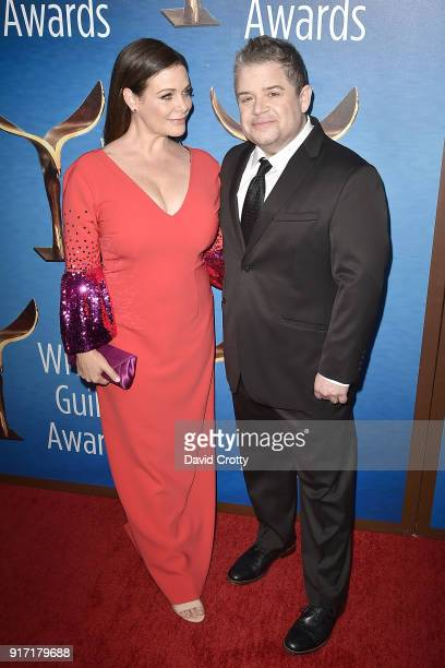 Meredith Salenger and Patton Oswalt attend the 2018 Writers Guild Awards LA Ceremony at The Beverly Hilton Hotel on February 11 2018 in Beverly Hills...