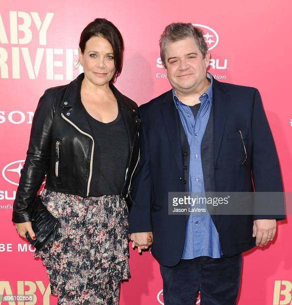 Meredith Salenger and Patton Oswalt attend the premiere of Baby Driver at Ace Hotel on June 14 2017 in Los Angeles California