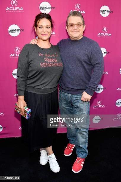 Meredith Salenger and Patton Oswalt attend the Sundance Institute at Sundown Summer Benefit at the Ace Hotel on June 14 2018 in Los Angeles California