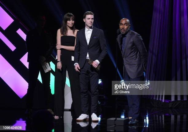 Meredith Stedman Payne Lindsey and Donald Albright speak onstage during the 2019 iHeartRadio Podcast Awards Presented By Capital One at iHeartRadio...