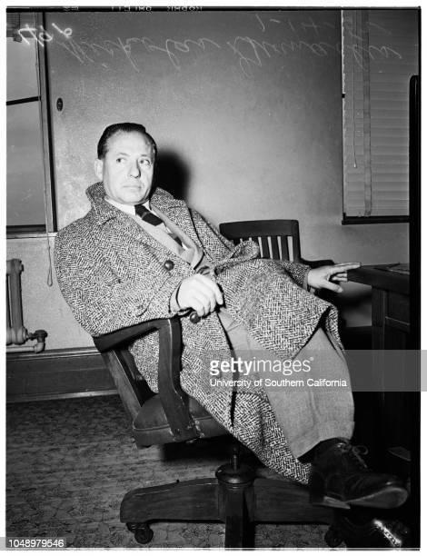 Meredith story, 14 January 1952. E Marvin Goodson;William R Law;Madge Meredith;Jim Burke ;Don Gallery;Mrs Eleanor Burke;Zasu Pitts;Nicholas...