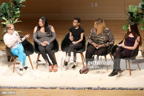 Meredith Talusan Jennciet Guttierez Tyler Ford Ashlee Marie Preston and Danica Roem speak onstage during Teen Vogue Summit 2018 #TurnUp Day 2 at The...