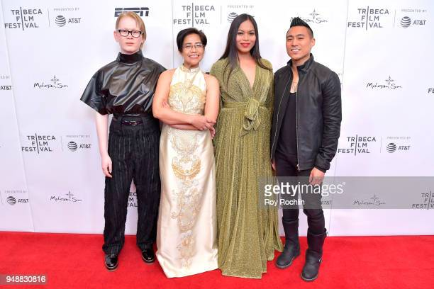 Meredith Talusan Virginia Lacsa Suarez Naomi Fontanos and Director PJ Raval attend the premiere of 'Call Her Ganda' during the 2018 Tribeca Film...