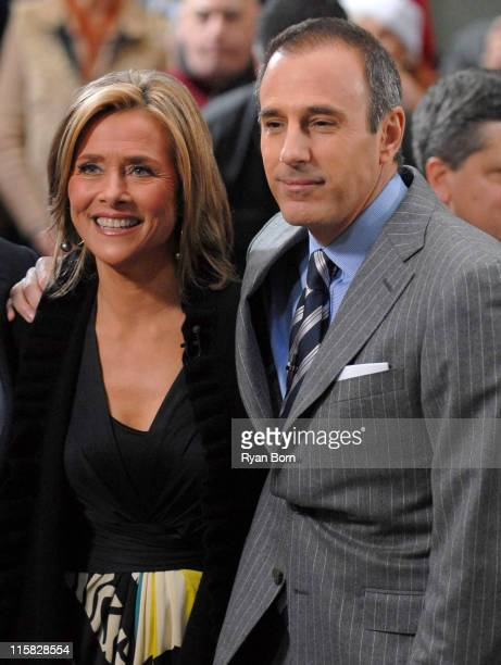 Meredith Vieira and Matt Lauer during Mary J Blige Performs On The Today Show December 15 2006 at Dean and Deluca Plaza at Rockefeller Center in New...