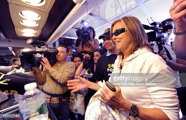 Meredith Vieira and Reggie Jackson on hand for the The Original SoupMan at their original location at 55th and 8th Avenue reopened today after being...