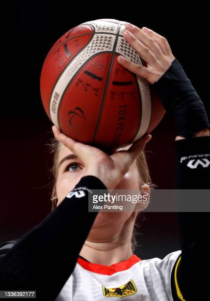 Mereike Miller of Team Germany throws during the Wheelchair Basketball Women's preliminary round group A match between team Germany and team...