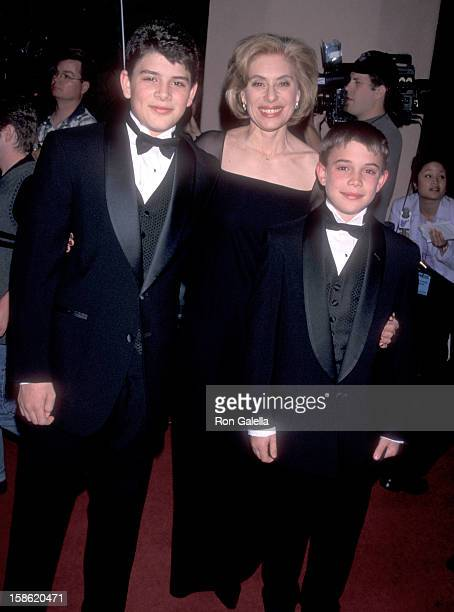 Merel Poloway and sons Raul Sigmund Julia and Benjamin Julia attend the Third Annual Raul Julia Ending Hunger Fund Benefit Gala on April 18 1999 at...