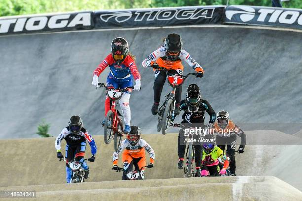 Merel Smulders and Judy Baauw of Netherlands during the BMX World Cup on June 8 2019 in St Quentin France
