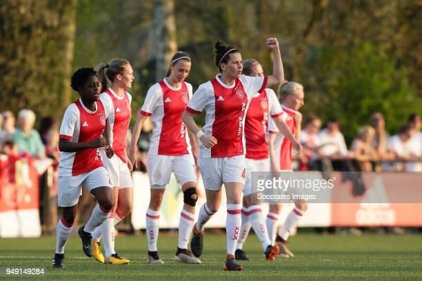 Merel van Dongen of Ajax Women celebrates 10 during the Dutch Eredivisie Women match between Ajax v Fc Twente at the De Toekomst on April 20 2018 in...