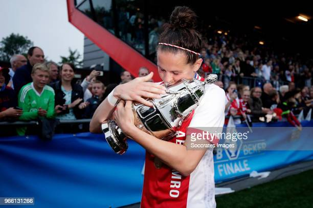 Merel van Dongen of Ajax Women celebrates the championship with the trophy during the Dutch KNVB Beker Women match between Ajax v PSV at the...