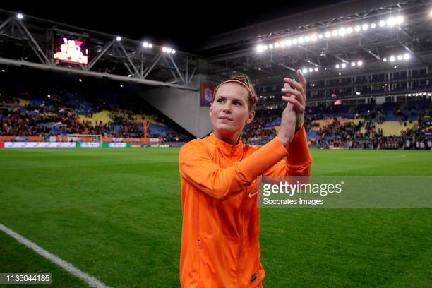 Merel van Dongen of Holland Women celebrates the victory during the International Friendly Women match between Holland v Mexico at the GelreDome on...