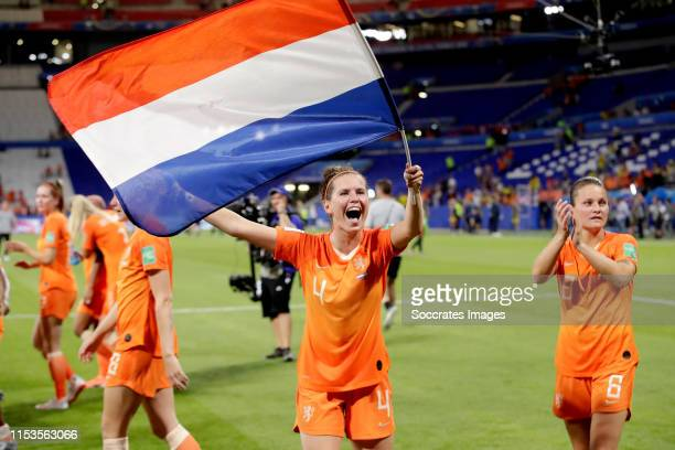 Merel van Dongen of Holland Women celebrates the victory during the World Cup Women match between Holland v Sweden at the Stade de Lyon on July 3,...