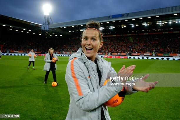 Merel van Dongen of Holland Women celebrates the victory during the World Cup Qualifier Women match between Holland v Slovakia at the Abe Lenstra...