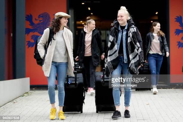 Merel van Dongen of Holland Women, Danique Kerkdijk of Holland Women during the Arrival Holland Women at the KNVB Campus at the KNVB Campus on April...