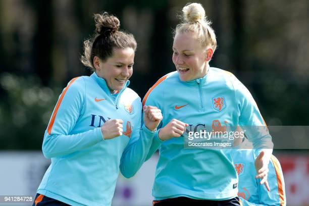 Merel van Dongen of Holland Women Danique Kerkdijk of Holland Women during the Training Holland Women at the KNVB Campus on April 3 2018 in Zeist...