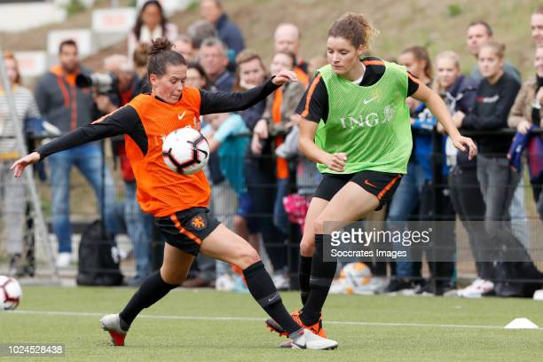 Merel van Dongen of Holland Women Dominique Bloodworth of Holland Women during the Training Holland Women at the KNVB Campus on August 27 2018 in...