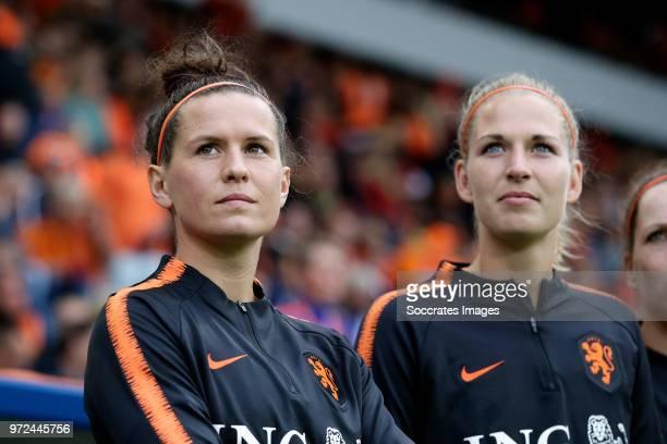 Merel van Dongen of Holland Women Kelly Zeeman of Holland Women during the World Cup Qualifier Women match between Holland v Slovakia at the Abe...