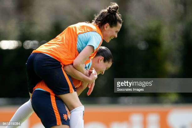 Merel van Dongen of Holland Women Sherida Spitse of Holland Women during the Training Holland Women at the KNVB Campus on April 3 2018 in Zeist...