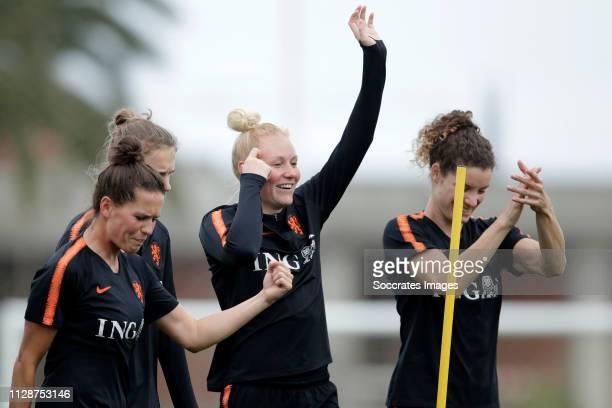 Merel van Dongen of Holland Women, Vivianne Miedema of Holland Women, Danique Kerkdijk of Holland Women, Dominique Bloodworth of Holland Women during...