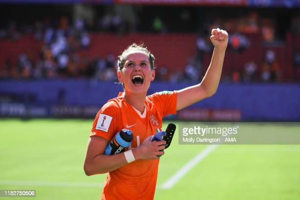 Merel Van Dongen of the Netherlands celebrates at full time of the 2019 FIFA Women's World Cup France Quarter Final match between Italy and and...