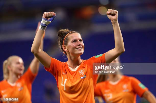 Merel Van Dongen of the Netherlands celebrates victory following the 2019 FIFA Women's World Cup France Semi Final match between Netherlands and...