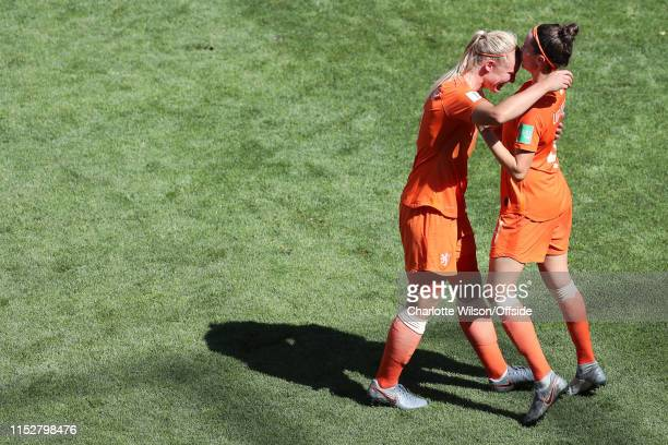 Merel Van Dongen of the Netherlands kisses Stefanie Van Der Gragt on the forehead as they celebrate their 2nd goal during the 2019 FIFA Women's World...