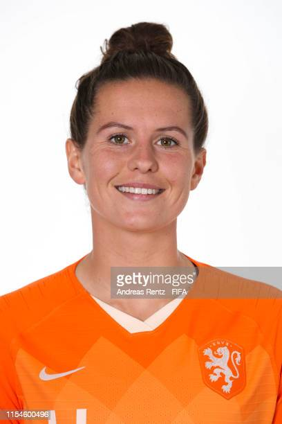 Merel Van Dongen of the Netherlands poses for a portrait during the official FIFA Women's World Cup 2019 portrait session at Hotel Novotel Le Havre...