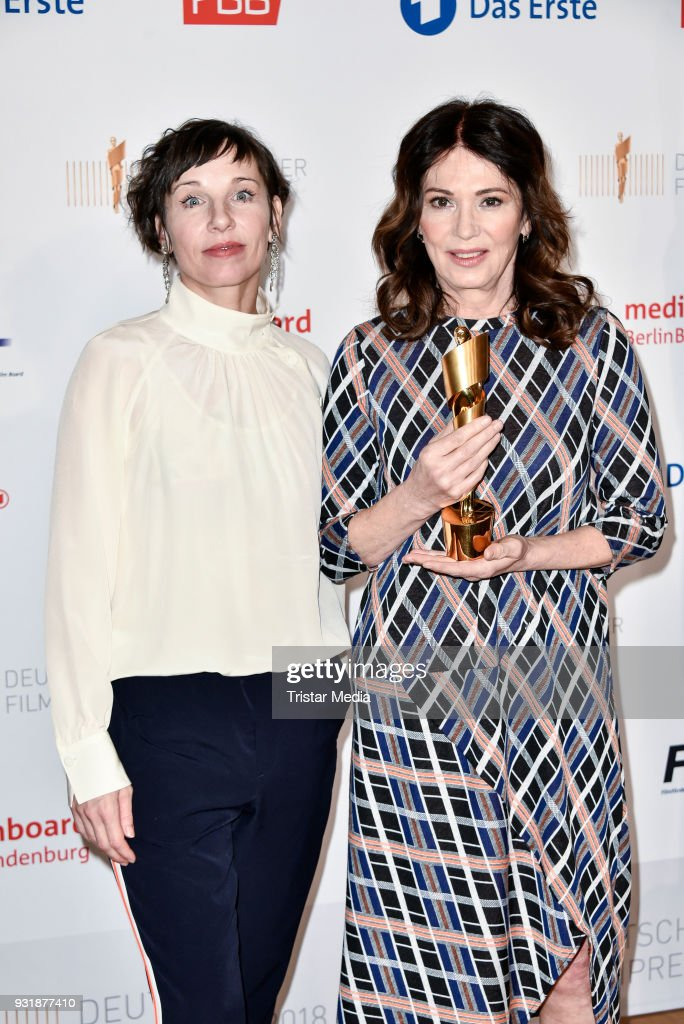 Meret Becker and Iris Berben during the nominees announcement for the Lola - German film award at on March 14, 2018 in Berlin, Germany. The German film award will take place on April 28, 2017.