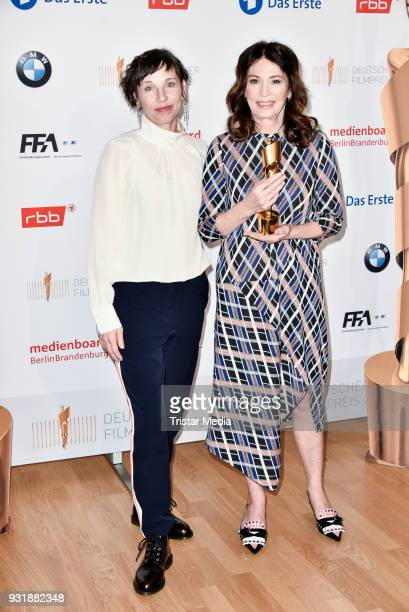 Meret Becker and Iris Berben during the nominees announcement for the Lola German film award at on March 14 2018 in Berlin Germany The German film...