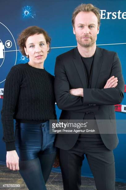 Meret Becker and Mark Waschke attend the presentation of the new Berlin Tatort Team at Soho House on February 27 2014 in Berlin Germany