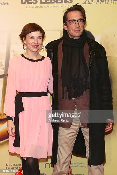 Meret Becker and Oskar Roehler attends 'Quelle des Lebens' Germany Premiere at Delphi Filmpalast on February 5 2013 in Berlin Germany