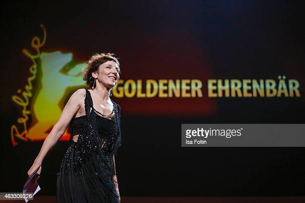 Meret Becker attends the Honorary Golden Bear award for Wim Wenders during the 65th Berlinale International Film Festival at Berlinale Palace on...
