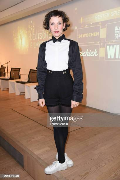 Meret Becker attends the nominees announcement for the Lola German film award at Deutsche Kinemathek on March 16 2017 in Berlin Germany The German...