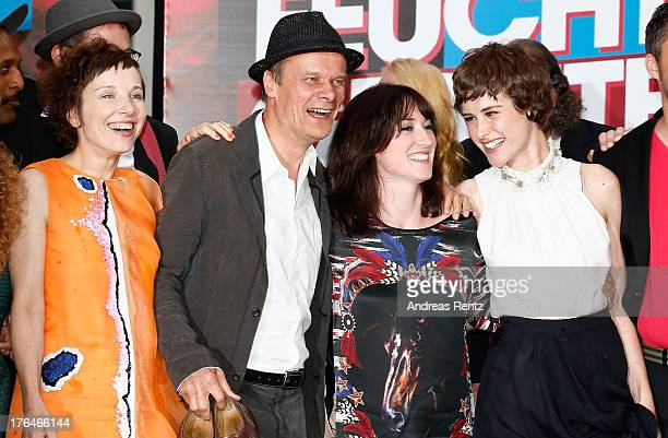 Meret Becker, Edgar Selge, writer Charlotte Roche and actress Carla Juri attend 'Feuchtgebiete' Germany Premiere at Sony Centre on August 13, 2013 in...