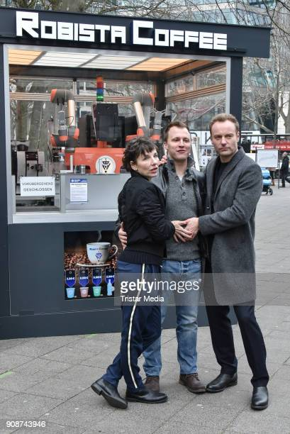 Meret Becker Mark Waschke and Tim Kalkhof during the Tatort on set Photo Call on January 22 2018 in Berlin Germany