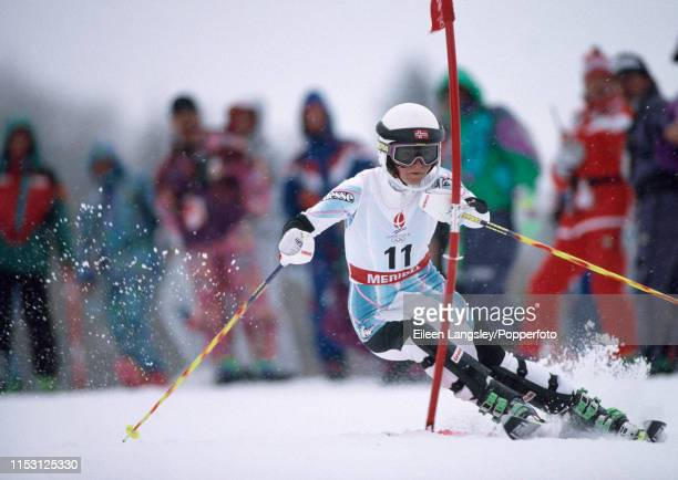 Merete Fjeldavlie representing Norway in the slalom event of the women's combined during the 1992 Winter Olympics at the Meribel ski resort on...