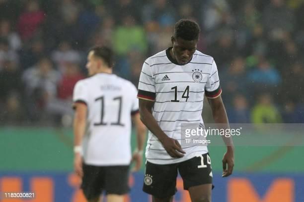 Mergim Berisha of Germany U21 and Ragnar Ache of Germany U21 looks dejected during the UEFA Under 21 European Qualifier match between Germany U21 and...
