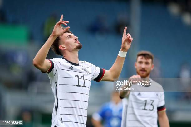 Mergim Berisha of Germany U21 celebrates after scoring his team's first goal during the UEFA Euro Under 21 Qualifier match between Germany U21 and...